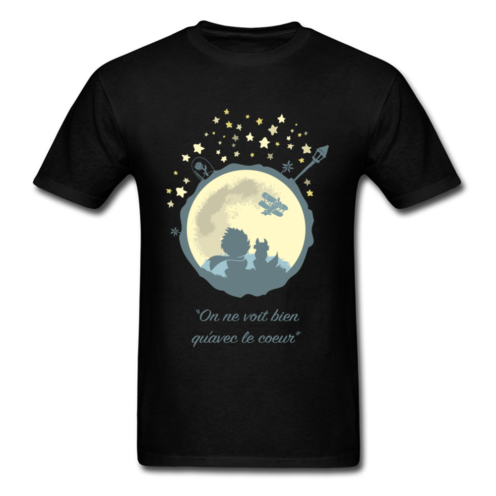 Men T Shirt Christmas Gift Tshirt Little Prince & Moon Print Cotton Fabric O Collar Tops Tees Short Sleeve France Comics T-Shirt