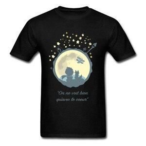 T-Shirt homme cadeau de noël T-Shirt petit Prince & lune imprimé coton tissu O col hauts t-shirts manches courtes France Comics T-Shirt