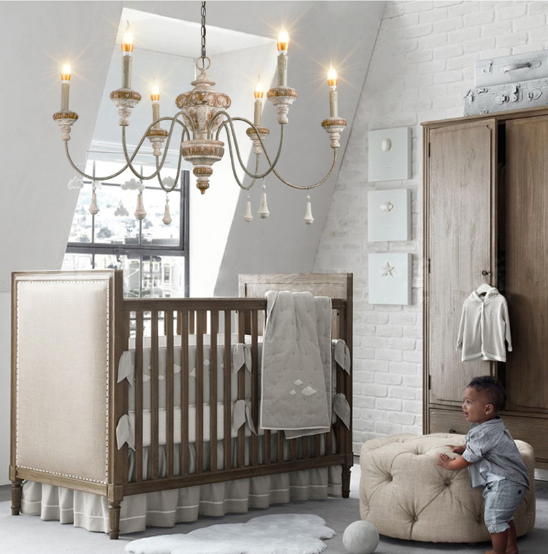 Phube Lighting Retro Candle Chandeliers Wooden Chandelier Light Children's room Bedroom Princess room Chandelier Home Lighting цена