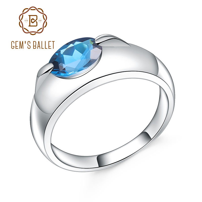 GEM'S BALLET 1.57Ct Natural London Blue Topaz Gemstone Ring 925 Sterling Silver Simple Elegant Rings Fine Jewelry For Women