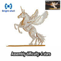 DIY arts and 3D Pegasus Handmade Wooden Craft toys Party Arts Puzzles Model Decoration for children kid Toy Birthday Best Gift