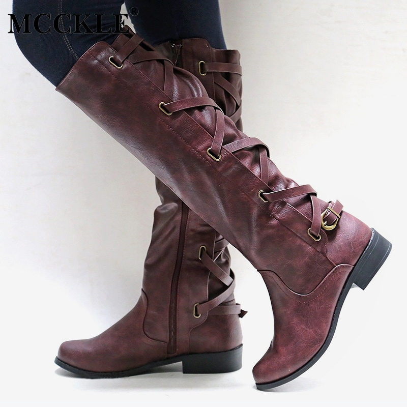 MCCKLE Women Plus Size Casual Platform Thick Heels Knee Boots Female Zipper Lace Up Buckle Autumn Shoes Ladies 2018 Fashion mcckle women s lace up rivets buckle ankle martin boots ladies fashion thick heel platform high quality leather autumn shoes