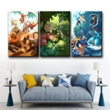 Home Decor Modular Canvas Picture 3 Piece Pokemon GAME Art Painting Poster Wall For Wholesale Decoration