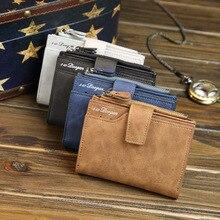 2016 Short Wallets PU Leather Brand Men Wallets Dollar Price Bifold Wallet Vintage Men Card Holder Zipper Coin Purse Pockets
