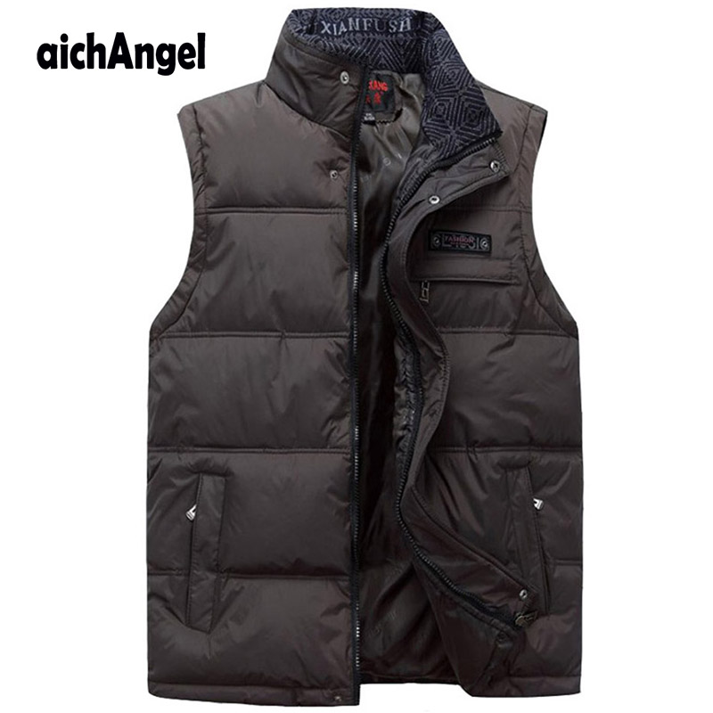 Jesień zima mężczyźni płaszcz ciepłe bezrękawnik na co dzień mężczyźni kamizelka bawełny wyściełane dół kamizelki robocze w Kamizelki od Odzież męska na AliExpress - 11.11_Double 11Singles' Day 1