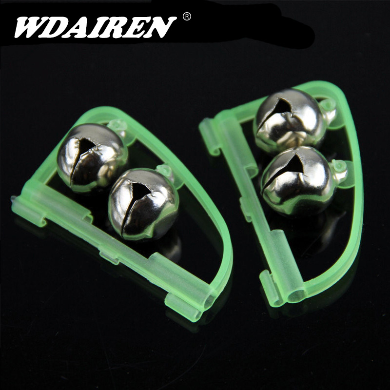 2Pcs/Lot 50mm Luminous Sea Fishing Feeder Fishing Bell Twin Rod Tip Fish Bell Alarm Fishing Tackle Length WD-151
