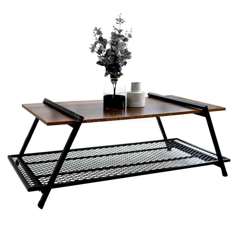 Retro Coffee Table Nordic Minimalist Creative Living Room Net Red Wrought Iron Wood Square Anese Small