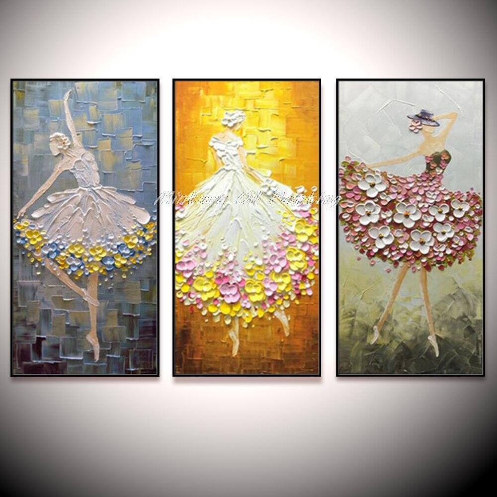 Dançarino de Balé Pintados à Mão Pintura a Óleo sobre Tela Arte da Parede para Sala Grande Adorável Abstrata Moderna Faca Paleta Estar Decoração Casa