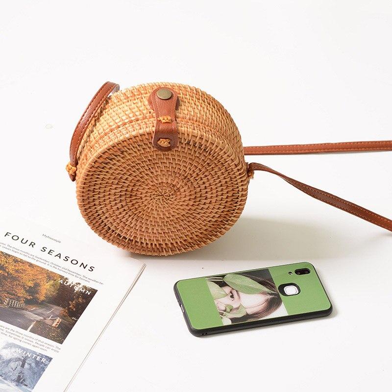FEMALEE Circular Casual Rattan Bag 2019 Ins Summer Purse Handmade Bali Beach Shoulder Bow Bags Woven Bohemian Handbag Sac A Main 4