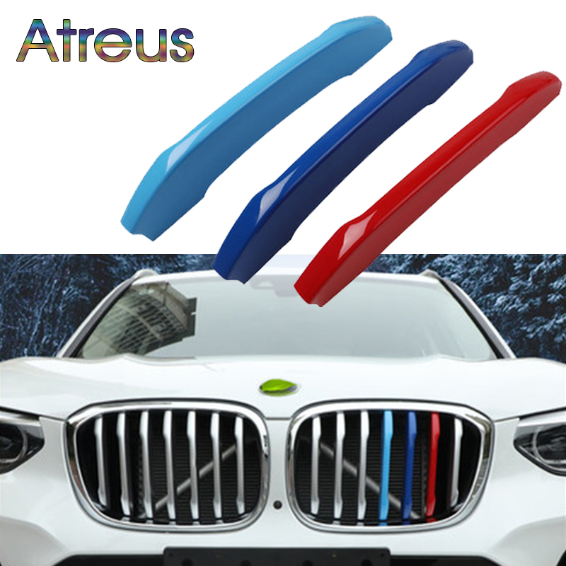 Atreus 3pcs 3D Car Front Grille Trim Sport Strips Cover Stickers For New <font><b>BMW</b></font> <font><b>X3</b></font> X4 <font><b>2018</b></font> 2019 2020 G01 G02 M Power <font><b>Accessories</b></font> image
