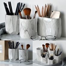 Office Home Creative Pen Holder Makeup Brushes Vase Storage Box With Marble Grain Desk Container Tool
