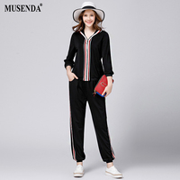 MUSENDA Plus Size Women Black Striped Ribbon Zipper Hooded Coat Full Length Pants 2017 Summer Lady