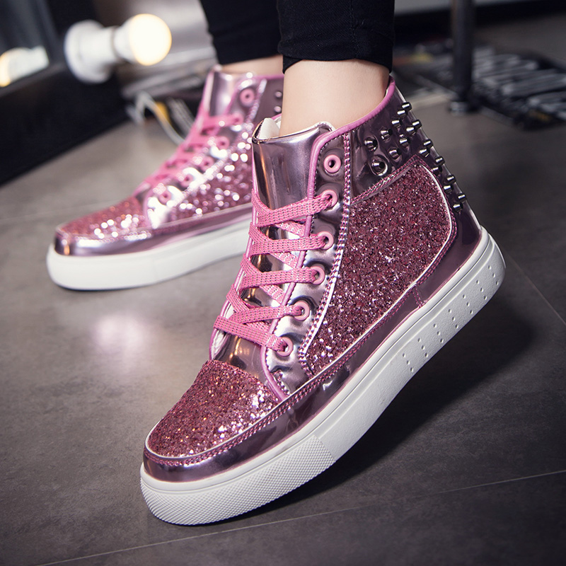 Women High Top Sneakers Sequins Rivet Lurex Glitter High-Cut Round Toe Lace-Up Shoes Outdoor Skateboard Shiny Flat Sneakers 2019