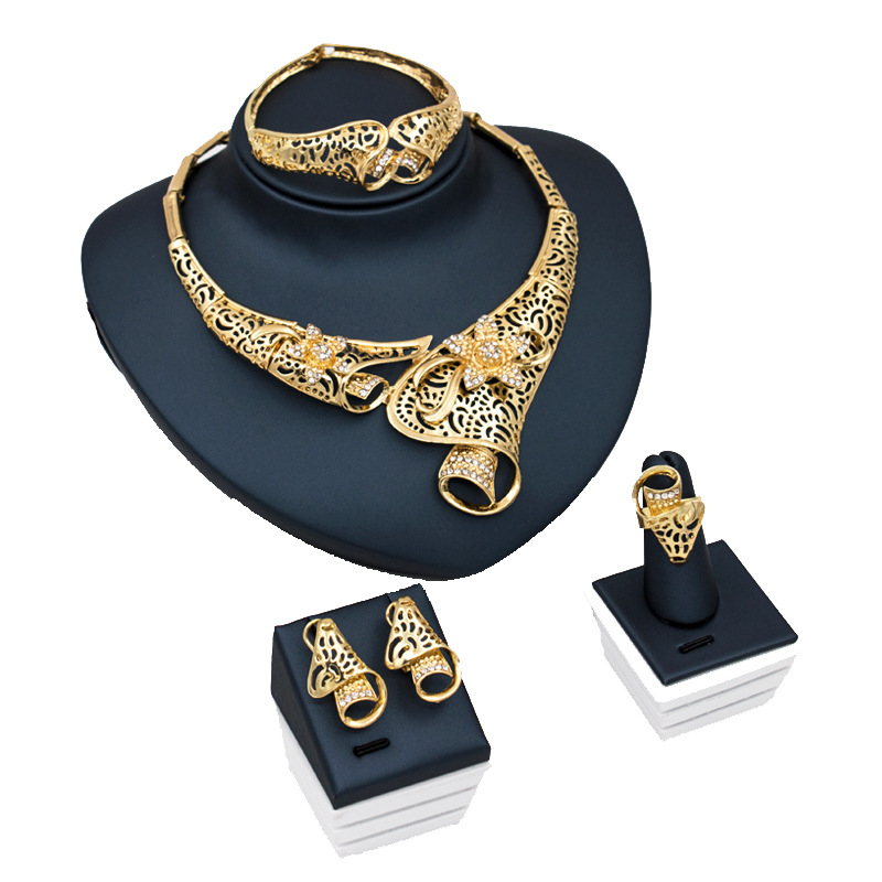 African Bridal Jewelry Sets Gold Inlay Crystal Exquisite Flower Molding Design Travel Memorial Birthday Gift Jewelry Accessories