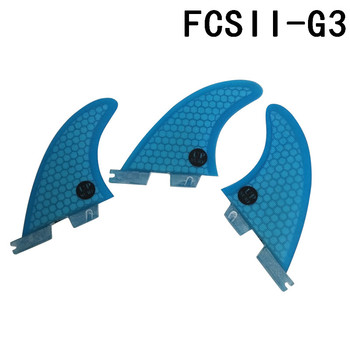 Surf Fins FCS2 G3 Orange/Blue Surfboard Honeycomb Fins Tri fin set fcs fin Fibreglass surf fins fcs2 g3 blue surfboard honeycomb fins tri fin set fcs fin fibreglass