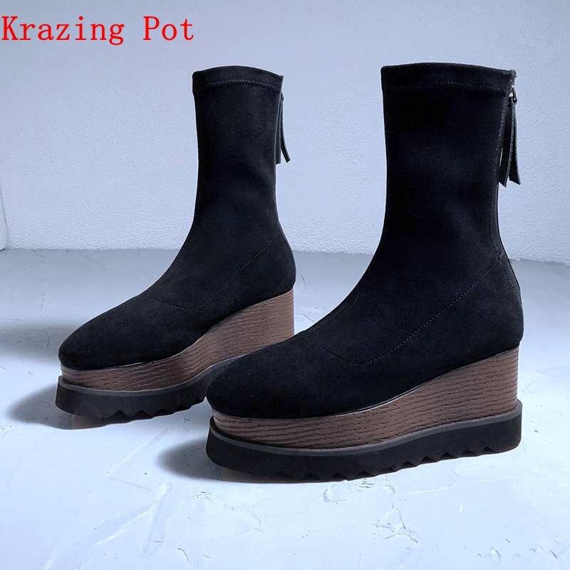 Krazing Pot genuine leather velvet material stretch leisure casual European style vintage superstar Winter mid calf