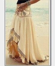 211ed12613c6 AQ165 fashion chiffon asymmetry long skirt elastic high waist pleated  ruffle Maxi Skirts for Women Faldas Mujer