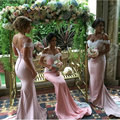 Honey Qiao Bridesmaid Dresses 2017 Pink Mermaid Off the Shoulder Lace Applique Pleat Long Maid of Honor Prom Gowns