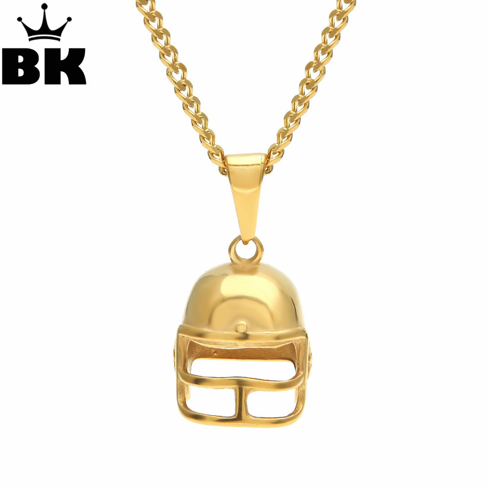 Mens Gold Tone American Football Helmet Micro Pendant Stainless Steel Sports Necklace Punk 3mm 24 Cuban Chain Necklace