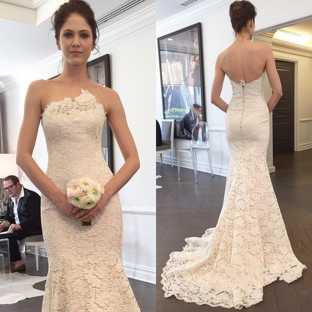 f1e1a01218ed Simple Elegant Strapless Wedding Dress Zipper Back 2019 Vinatge Lace Mermaid  Wedding Gown