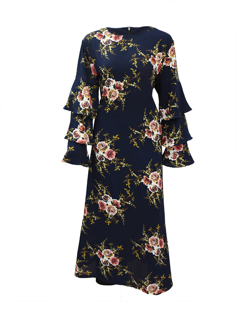 Women Marokko Kaftan Plus Size 7XL Printed Muslim Flower Dress Arabic Muslim Abaya Dress 3