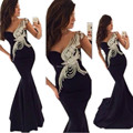 8311 W 2017 Envío Rápido Mujeres Sexy Sirena Con Cuentas de Un hombro vestido de La Celebridad vestidos de Baile Vestido de Noche Formal Largo Negro