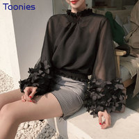 Sweet Spring Blouses For Women Stand Collar Ruffles 3D Long Sleeved Shirts Elastic Waist Coat Straps