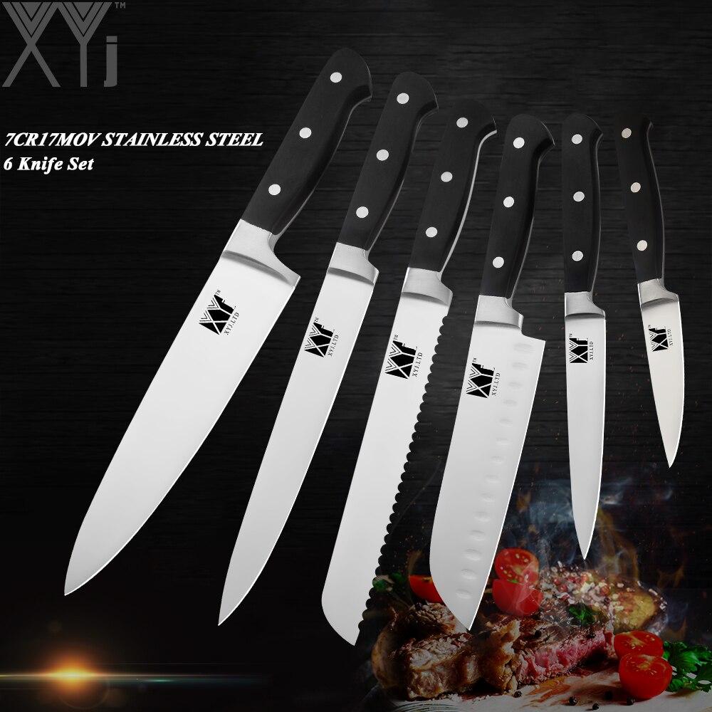XYj высокое весы Германии сталь кухонные ножи комплект 7cr17mov ультра острое лезвие Шеф повара 58 HRC пособия по кулинарии ножи Resturant хорошие инстр...