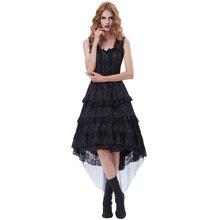 Belle Poque Women Sexy Corset Dancer Costume Black Vestidos 2017 Summer Female Elegant Gothic Vintage Ruffled High-Low Hem Dress