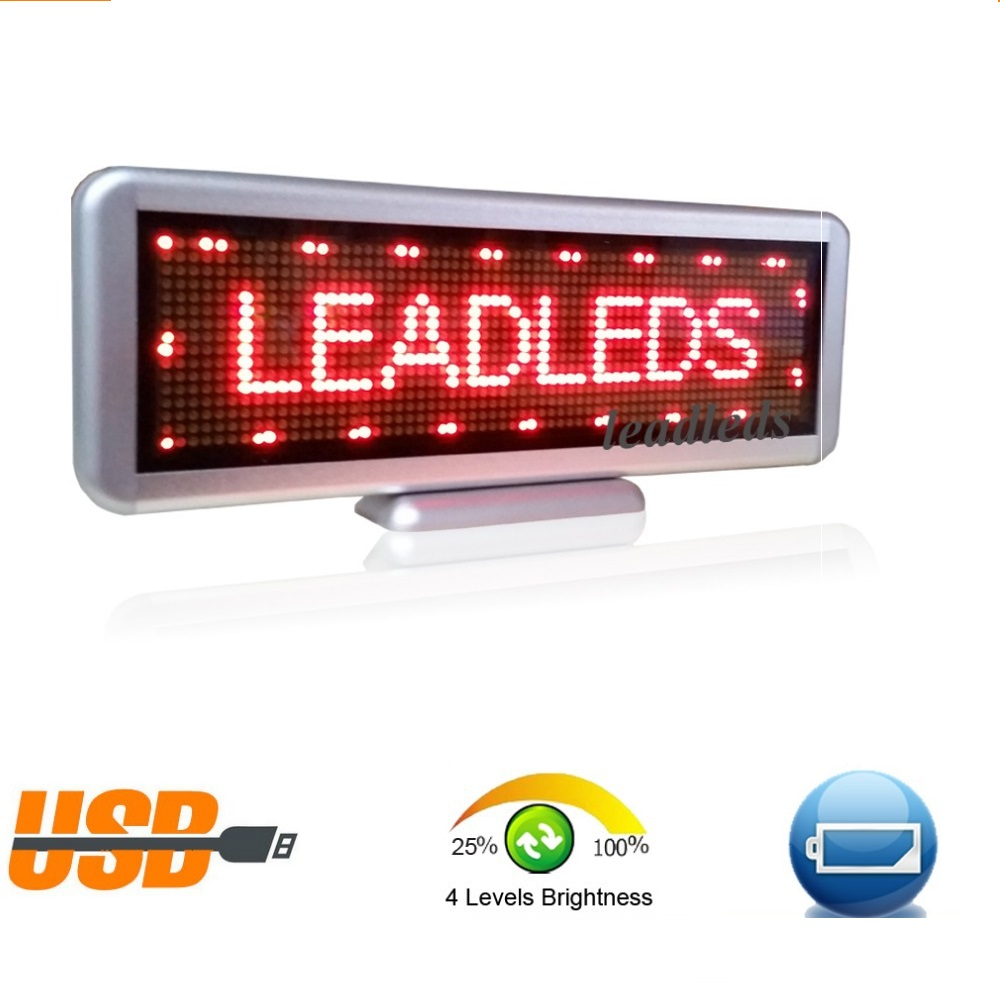 Car Sign Programmable Message Sign Moving Scrolling LED Display Board Single Red High Brightness high 8 5 inch red led desktop display board portable rechargeable usb programmable moving message store led business sign board