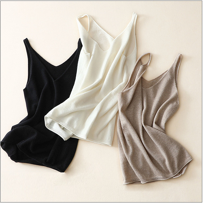 51b22092e7c453 Detail Feedback Questions about 100% Cashmere Knitted Tank Top Vest Women  Basic Clothing Solid Tops 3 Colors Casual Style Autumn Winter New Fashion  2018 on ...
