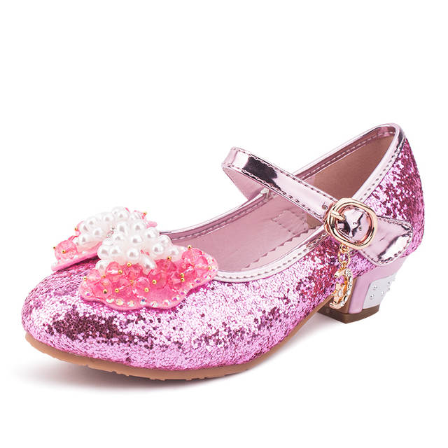 Sequin Glitter Children Shoes Girls High Heels Pumps Kids Snow Queen Party  Beading Dance Shoes For 044b422b8c6a