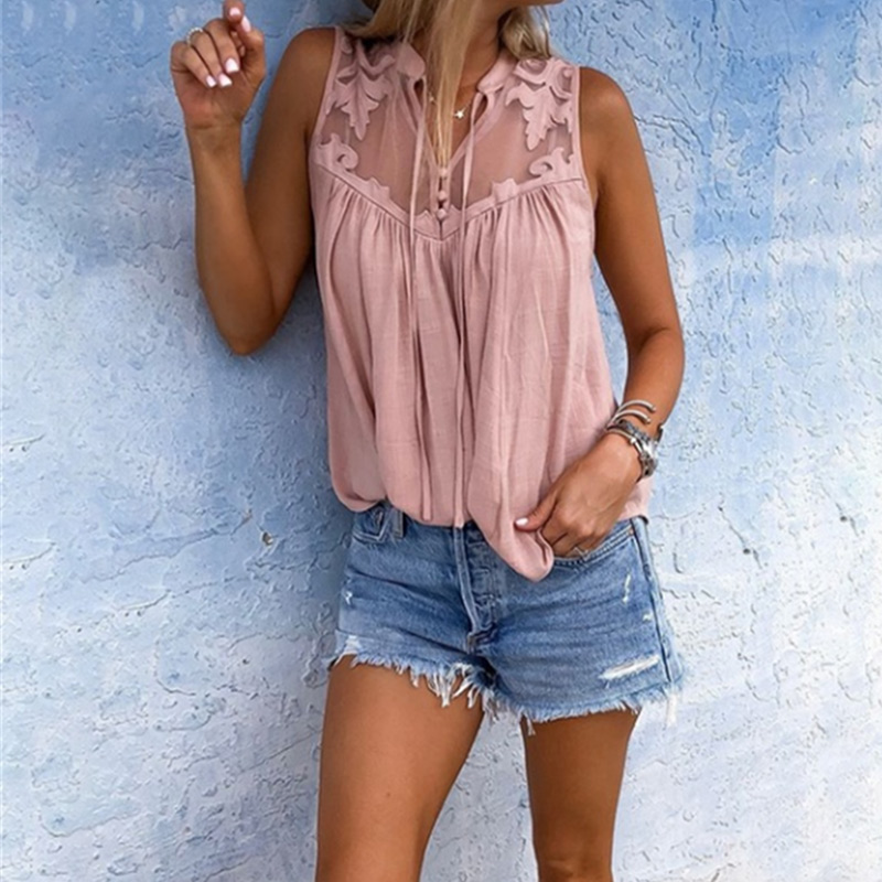 Women's Lace Mesh Sleeveless Patchwork Blouse V-neck Transparent Loose Tops Women 2020 Summer Office Lady Casual Ladies Blouses