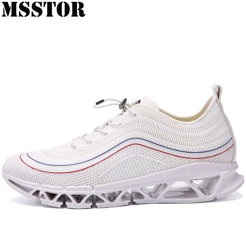 MSSTOR 2018 Mens Running Shoes White Men Sport Shoes Man Brand Summer Breathable Mesh Sports Run Outdoor Athletic Mens Sneakers