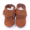 2016 New High quality color genuine leather Fringes suede baby moccasins Baby boot Tassels Toddler Princess Shoes first walkers