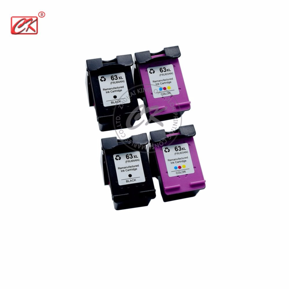 4Pack Compatible ink cartridge For HP63 For hp 63XL for 3630 3632 4652 4655 4522 printer
