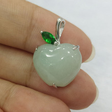 Fijne Sieraden Natuurlijke 925 Zilveren Emerald Jade Gesneden Apple Vorm Trendy Charm Vrouwen Hanger Kerstcadeau