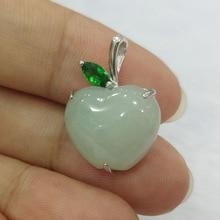 Güzel takı doğal 925 gümüş zümrüt yeşim oyma elma şekli moda Charm kadınlar kolye noel hediyesi