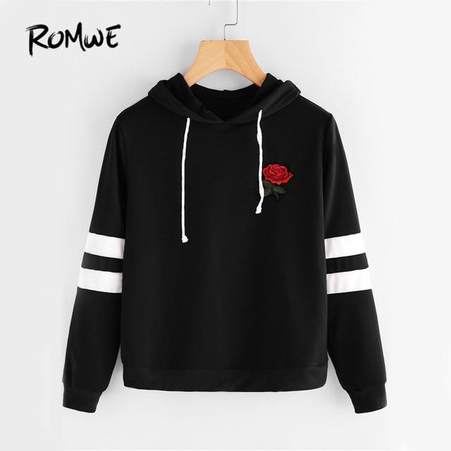 ROMWE Rose Patch Black Hoodies Women Stripe Sleeve Hoodie Embroidery  Sweatshirt 2017 Autumn Casual Drawstring Basic