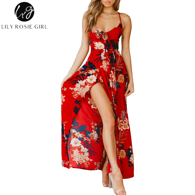 Lily Rosie Girl Red Floral Print Sexy Lace Up V Neck Women Maxi Dresses Summer Split Backless Beach Long Vestidos Boho Dress