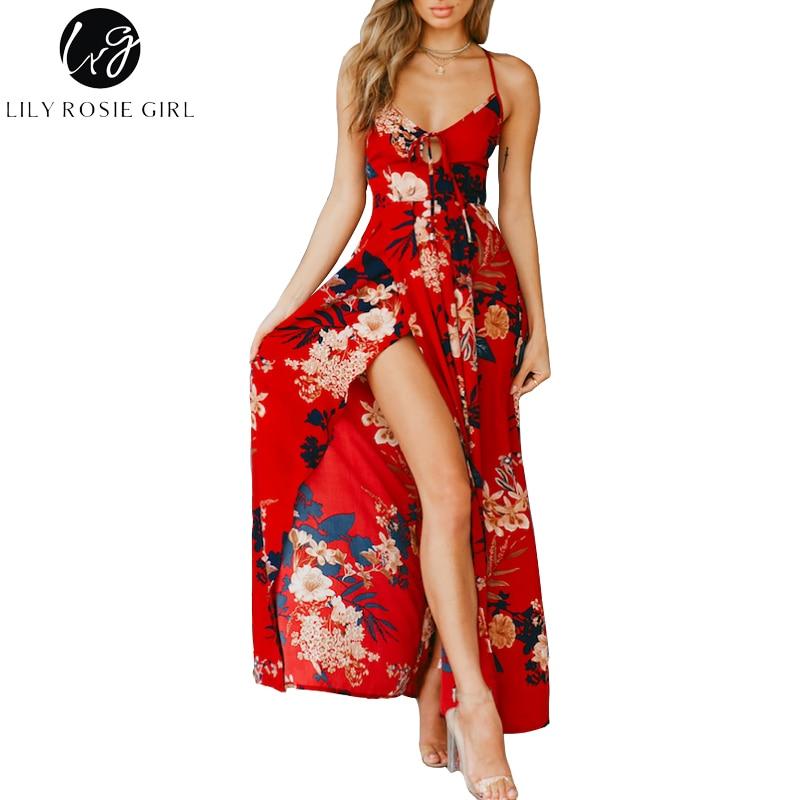 Lily Rosie Girl impresión Floral rojo Sexy Lace Up V cuello mujeres Maxi Vestidos verano Backless Beach Long Vestidos boho vestido