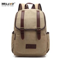 Wellvo Canvas Laptop Backpack Men Teenage Boys School Bag Large Students Backpacks Vintage Travel Rucksack Shoulder Bags XA34C