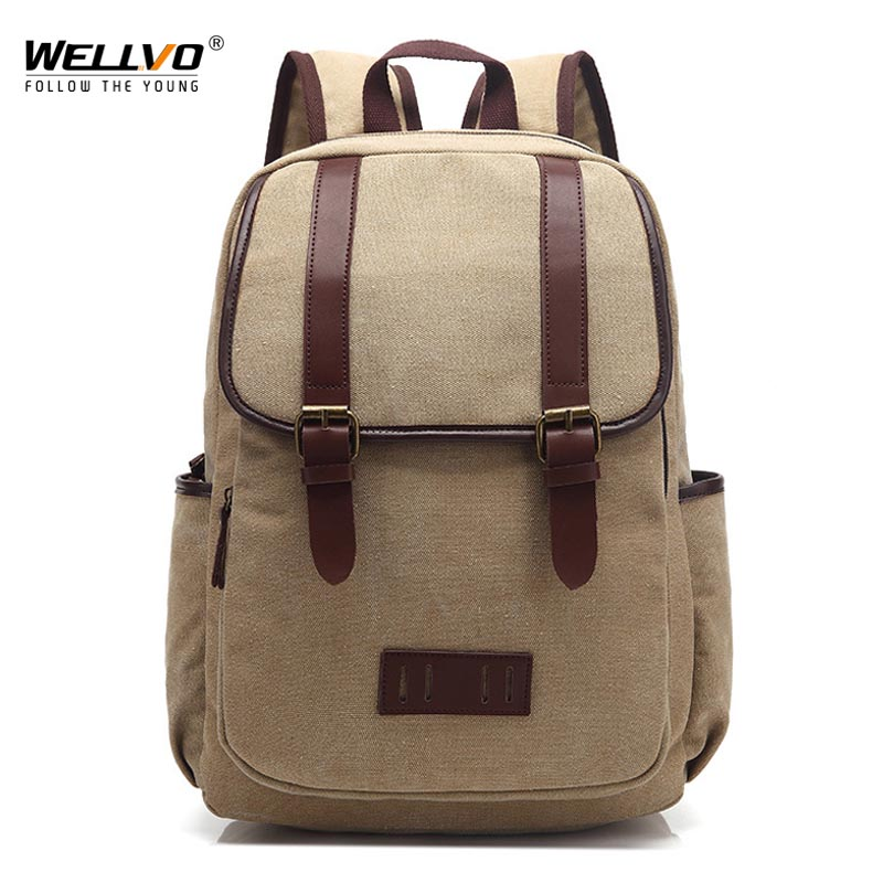 Wellvo Canvas Laptop Backpack Men Teenage Boys School Bag Large Students Backpacks Vintage Travel Rucksack Shoulder Bags XA34C new vintage backpack canvas men shoulder bags leisure travel school bag unisex laptop backpacks men backpack mochilas armygreen