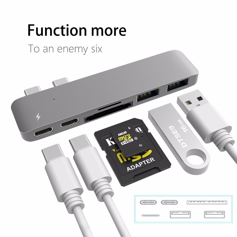 6 in 1 USB C Aluminum Type C 3.0 Hub Adapter, 40Gbs Thunderbolt 3, 2 Type-C Ports, 2 USB 3.0 Ports, SD / Micro SD,TF Card Reader usb c lan hub type c to hdmi male 3hz type c pass through ethernet sd micro card reader and 3 usb 3 0 ports 10 pieces lot