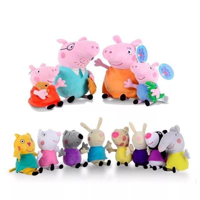 Genuine peppa pig peppa george pelúcia boneca Kawaii Original & 19 recheadas brinquedos brinquedos passatempos para crianças meninas brinquedo de pelúcia cm