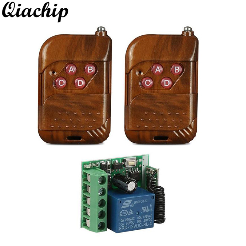 QIACHIP Gate Remote Control Switch 433mhz DC 12V 1CH Relay Receiver Module + RF Transmitter 433 Mhz Wireless Remote Controls 315mhz wireless relay module switch remote control switch 9v 12v 24v 1ch 10a receiver wall transmitter for light gate motor