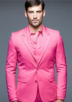 Latest Coat Pant Designs Hot Pink Formal Shining Custom Made Men Blazer Suit Notched Lapel Slim Fit 2 Piece Vestidos De Fiesta C