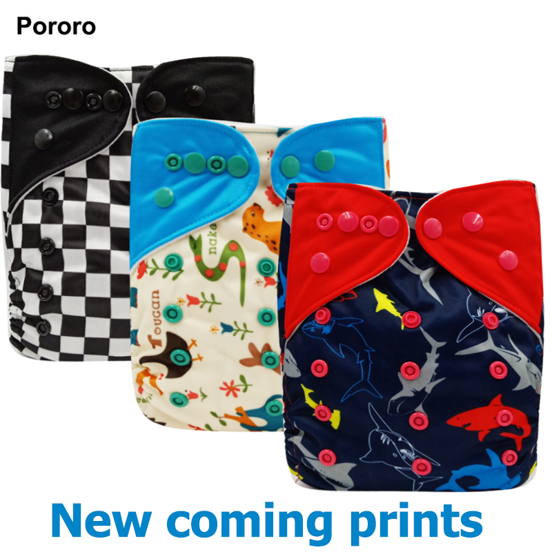 Pororo One Size Shark Print Washable Baby Cloth Diaper Cover, Waterproof Baby Diapers Reusable Cloth Nappy Suit 0-2years