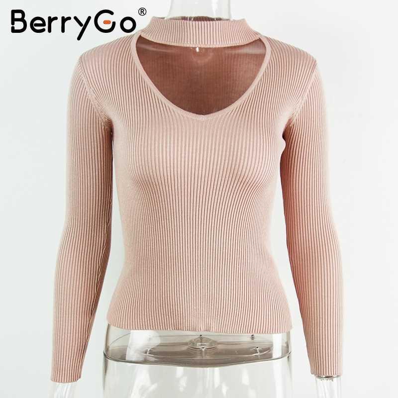 BerryGo осень зима Черный Холтер вязаный свитер красный сексуальный пуловер женские топы тонкий v образным вырезом с длинным рукавом Шикарный джемпер pull femme