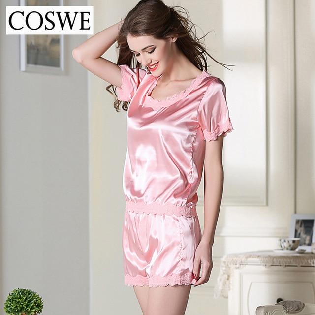 Home wear Sets Short Sleeve Female Pajamas Set Silk Sexy Sleepwear Lace Pajamas With Short Shorts